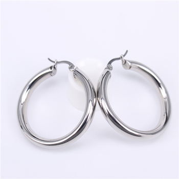 Stainless Steel Hoop Earrings Earrings Jewelry Women Jewelry Metal Color: Steel 40MM Round