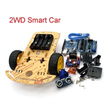 Nova evitação de rastreamento do motor robô inteligente carro chassis kit velocidade caixa bateria 2wd módulo ultra sônico para arduino kit