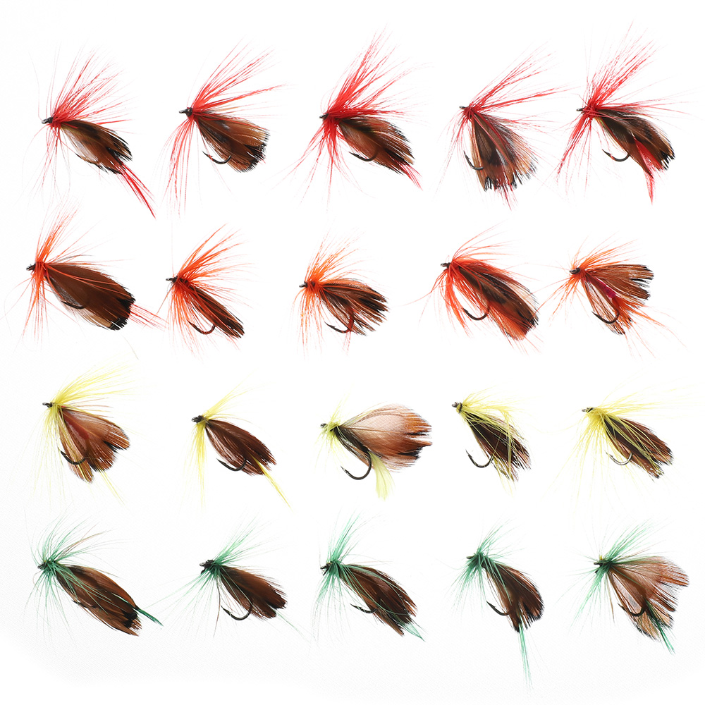 DONQL 10-50pcs Box Insects Flies Fly Fishing Lures Butterfly Trout Dry Fly Fishing Baits With Sharpened Crank Hooks Fish Tackle (6)
