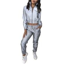 2 Piece Set Women New Reflective Leisure Suit Two-piece Long Sleeve Clothes Conjunto Femenino Ensemble Femme Matching Sets