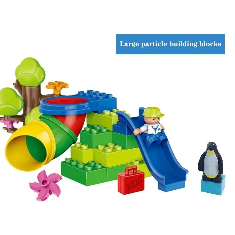 Diy строительные блоки, Мраморная изогнутая труба, прямые аксессуары для труб, игровая площадка, совместимые с Duploed, игрушки для детей