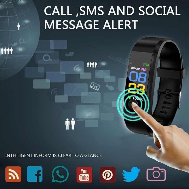 115 Plus Bluetooth montre intelligente moniteur de fréquence cardiaque Bracelet intelligent Fitness Tracker Bracelet IP65 étanche montre-Bracelet hommes femmes