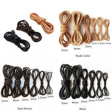 2Meter Genuine Leather Cord Brown Black Round Cow Leather Rope 1.5/2/3/4/5mm Solid String DIY Necklace Bracelet  Jewelry Making стоимость