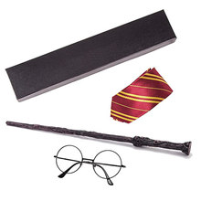 Varitas mágicas para Cosplay, varita mágica con lazos, gafas, regalo para niños con caja