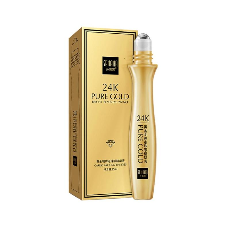 1 Pcs 24K Gold Bright Eye Serum Roll-on Essence Remove Dark Circles Hydrating Moisturizing Anti-Puffiness Eye Care