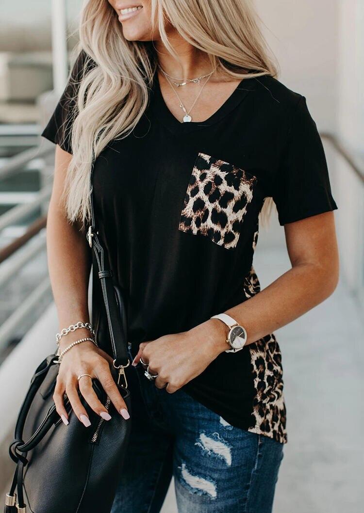 V-neck T-shirt Leopard Pocket Tee Women Summer Short Sleeve 2020 Fashion Leopard Back Tops Tee Summer New Loose Tee Shirt Female