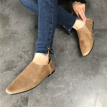 Genuine Leather Flats Casual Slip On Loafers Woman Shoes Comfortable Soft Leather Flat Shoes Square Toe Woman Footwear