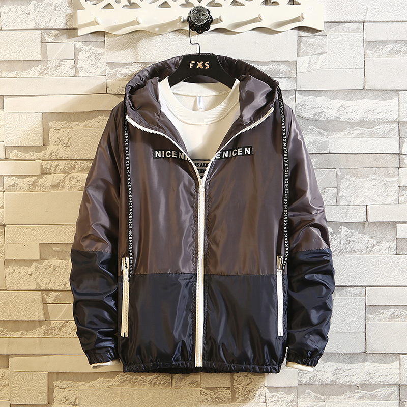Itemnew Mans Basic Full Zipper Waterproof Mesh Lined Hooded Long Windbreaker Coat
