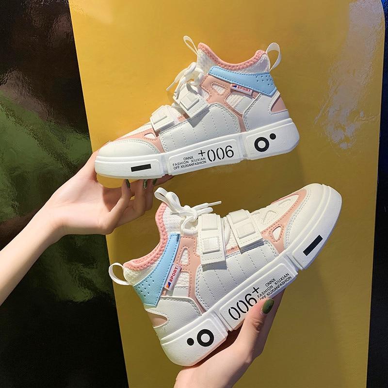 Sneakers Women Platform-Shoes Comfortable Fashion Ladies PU Low-Top Light Hip-Hop Hiking