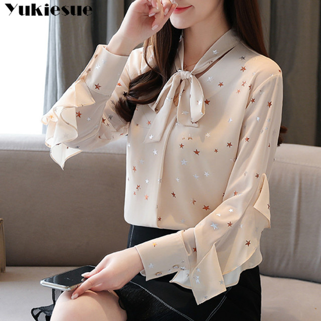 Plus size womens tops and blouses Summer women blouses 2020 white blouse long sleeve star print chiffon blouse women shirt top 1