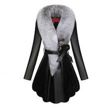 Fausse fourrure manteau femmes hiver femme en peau de mouton manteaux couleur Pure Faux renard fourrure colliers fermeture à pression fourrures grande taille D190806