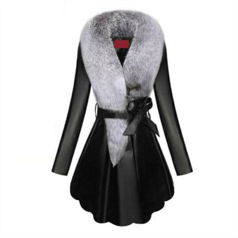 Faux Fur Coat Women Winter Female Sheepskin Coats Pure Color Faux Fox Fur Collars Snap Fastener Furs Plus Size D190806