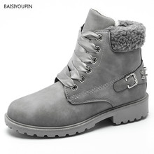 Plus Size Women Winter Short PU Leather Martin Boots Ladies Solid Plush Ankle Buckle Front Lace-Up Snow Cotton Boots botas mujer стоимость