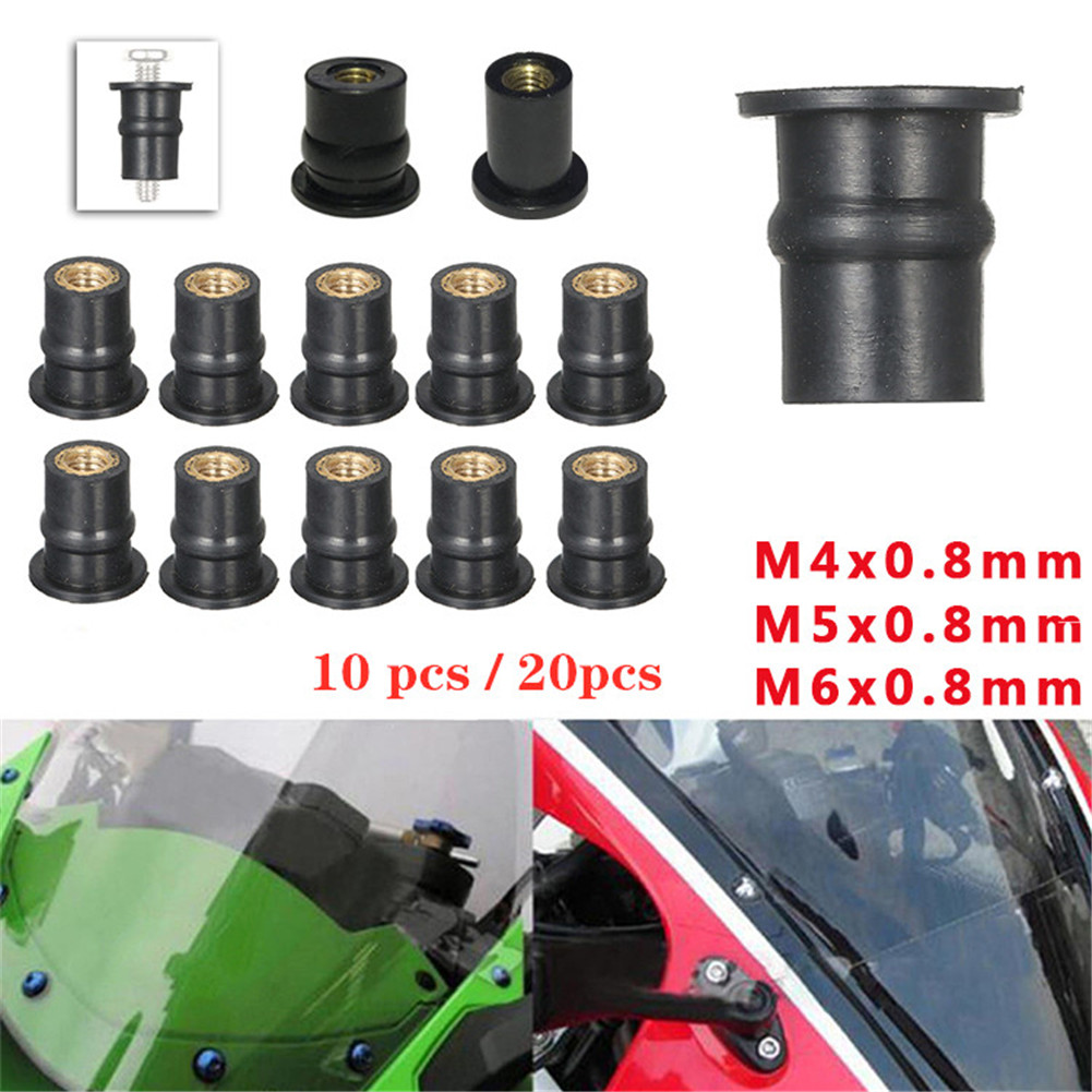 10/20 Pcs M4 M5 M6 0.8mm Motorcycle Bolts Scooter Nuts Fastener Clip <font><b>Screw</b></font> Moto Windshield Bolts Kit Motorcycle Accessories image