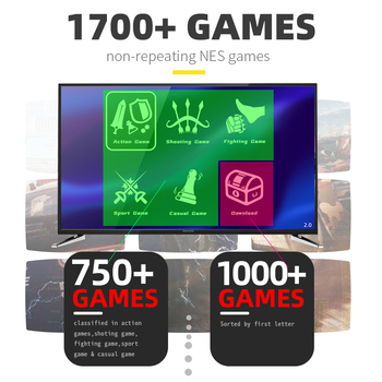 DATA FROG 4K HD Video Game Console Built in 1700 Classic Games Mini Retro Dendy Game Console Wireless Controller TV Output 2