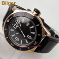 Bliger 43 мм Miyota автоматические мужские часы с черным циферблатом  светящимся циферблатом  золотым корпусом  резиновым ремешком
