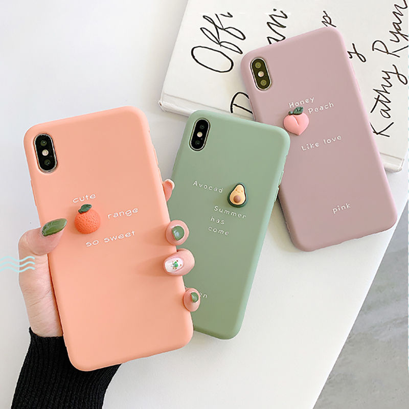 Coque de t l phone 3D motif avocat pour iPhone XR XS Max X 11 8