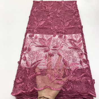 Onion French lace fabric African tulle lace fabric High-quality Nigerian lace fabric for the 2020 wedding party J36601