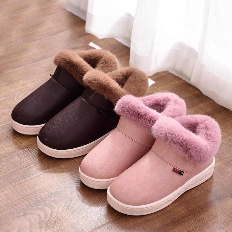 Image 5 - Женские зимние ботинки; Зимние Теплые ботильоны на меху; Обувь на толстой подошве из хлопка; Женская водонепроницаемая обувь на плоской подошве без застежки; Botas Mujer Zapatosboots winterbotas mujermujer zapatos -