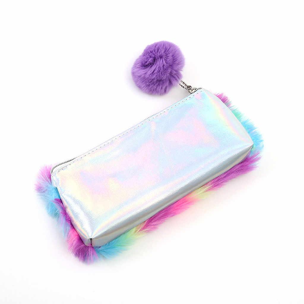 女性学生フェイクファージッパークラッチ化粧品ポーチペンバッグジッパーバスハンドバッグ豪華な財布女性トート