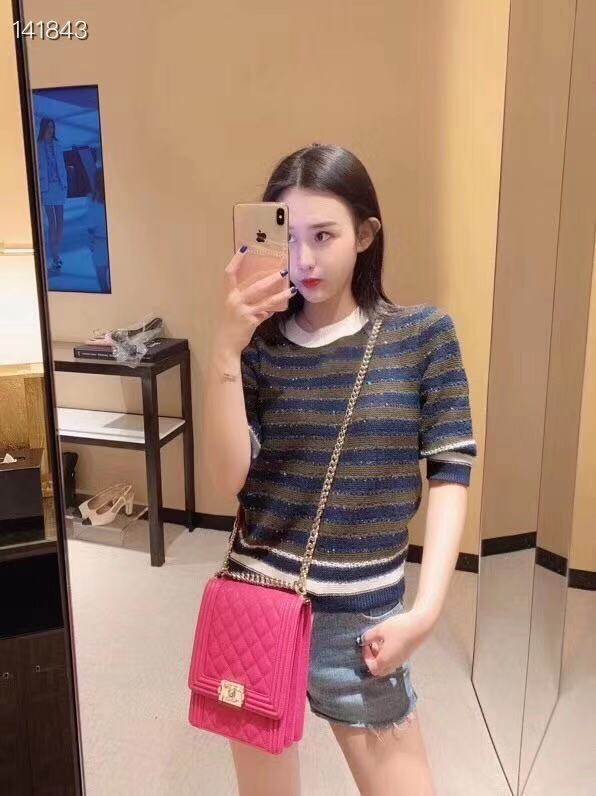 Sweaters Women Runway 2020 Sequins Christmas Pullovers Luxury Stripes Color Patchwork Sweaters Knitting Female Fashion Tops