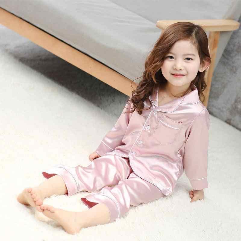 子供のシルクのパジャマ子供夏パジャマセットガールズボーイズ 2020 幼児ホームパジャマ服ティーンナイトウェア服