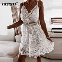 Verano de 2021 Sexy V-cuello borla vestido de fiesta mujer elegante de encaje largo vestido sin mangas vestido Maxi Vestidos