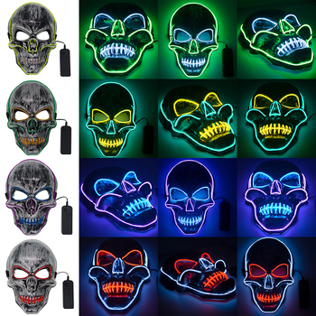 Led Mask Halloween Masque Masquerade Masks Neon Mask Glow Light In The Dark Horror Glowing Masker LED EL Wire Light Mask Q30 2020 hot sales fashion led mask luminous glowing halloween party mask neon el mask halloween cosplay mask mascara horror maska