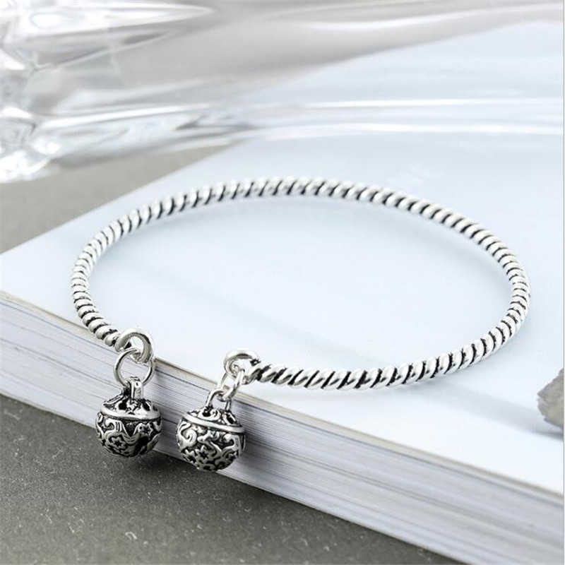New Arrival Weaving Crafts Creative Exquisite Bracelets National Wind 925 Sterling Silver Jewelry Twisted Bangles SB193