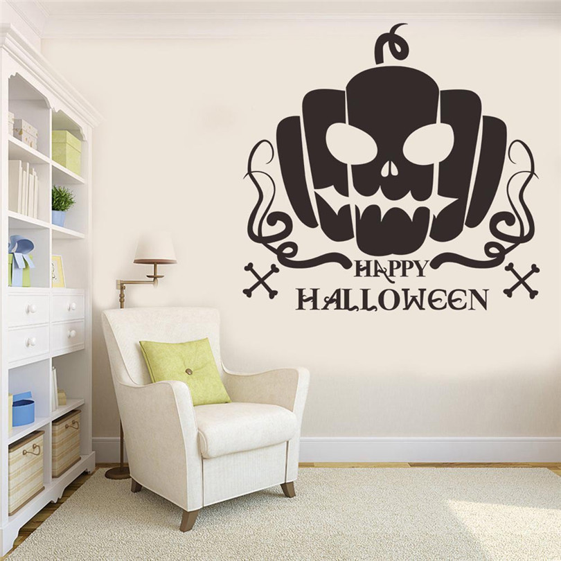 Halloween Vinyl Wall Stickers Waterproof Home Art Decoration Room Living Room Decoration Murals Funny Pumpkin Pattern WL112 in Wall Stickers from Home Garden