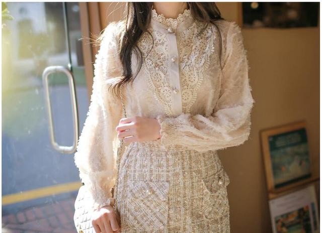 2020 Spring New Design Turtleneck Tops Women Blouses Long Sleeve Korean Style Temperament Office Lady Black Lace Vintage Shirt 3