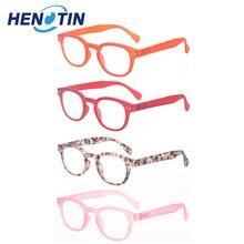 نظارات للقراءة 4 حزمة موضة الرجال والنساء نظارات للقراءة إطار مستدير أربعة ألوان الربيع المفصلي تصميم القراء 2.0