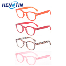 Reading glasses 4 pack Fashion Men and women reading glasses round frame four colors spring hinge design readers 2.0