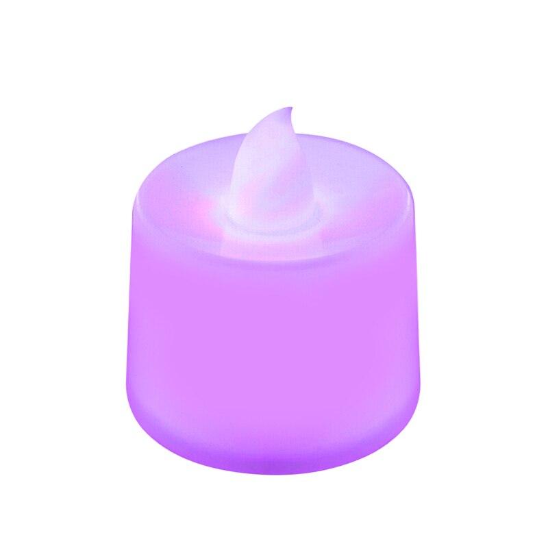 Батареи в комплекте чайный свет мерцающий беспламенный светодиодный свечи Буги велы электрические свечи Chandelle Свадебные украшения - Цвет: Фиолетовый