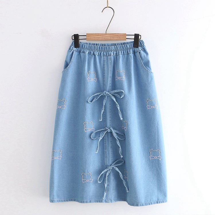 Mori Girl Hipster Students Elastic High-waisted Bow Lace-up Embroidered Bear Head Denim Skirt Women's S28484