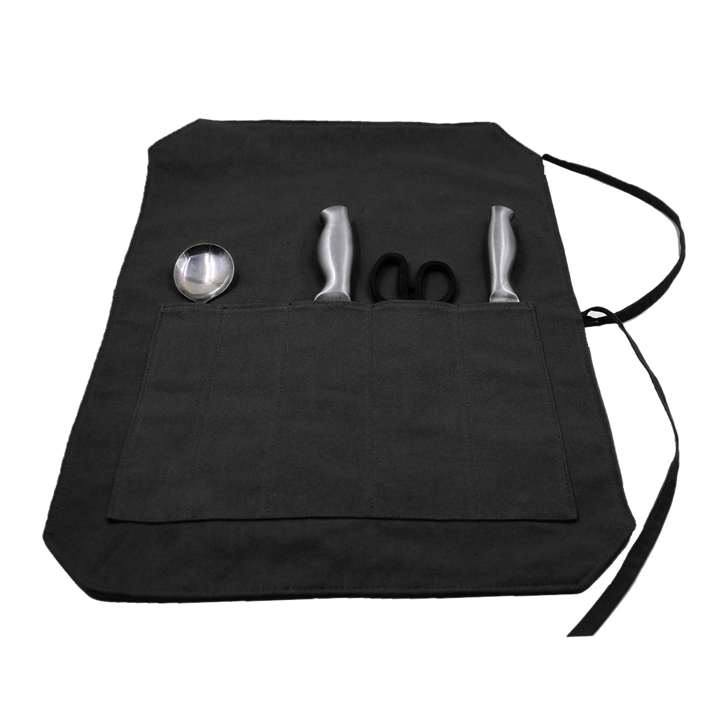 Professional Chef Canvas Wrap Knife Sleeves Wallet Carry Case Roll 5 Compartment Bag