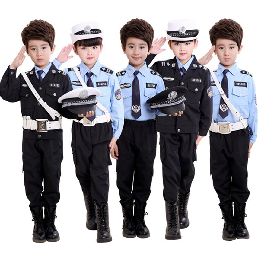 Boys Girls Carnival Cosplay Costumes For Policemen Uniform Halloween Party Summer Camp Performance Traffic Police Clothing