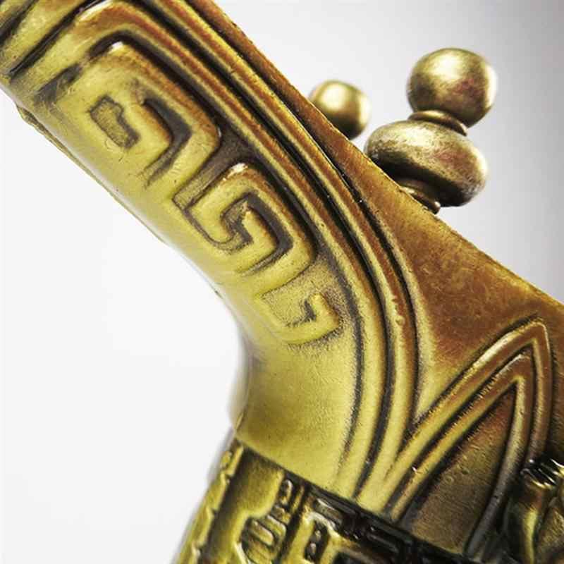 2 Pcs 3 Gambe Archaize Manufatti Coppa di Bronzo Cinese Imperatore Qianlong Artificiale Souvenir Regalo Decorazione Dell'ufficio-Taglia S
