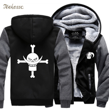 Japanese Anime One Piece Monkey D Luffy Sweatshirt Hoodies Men 2018 Winter Warm Jackets Thick Zipper Hooded Hoodie Cartoon Coat