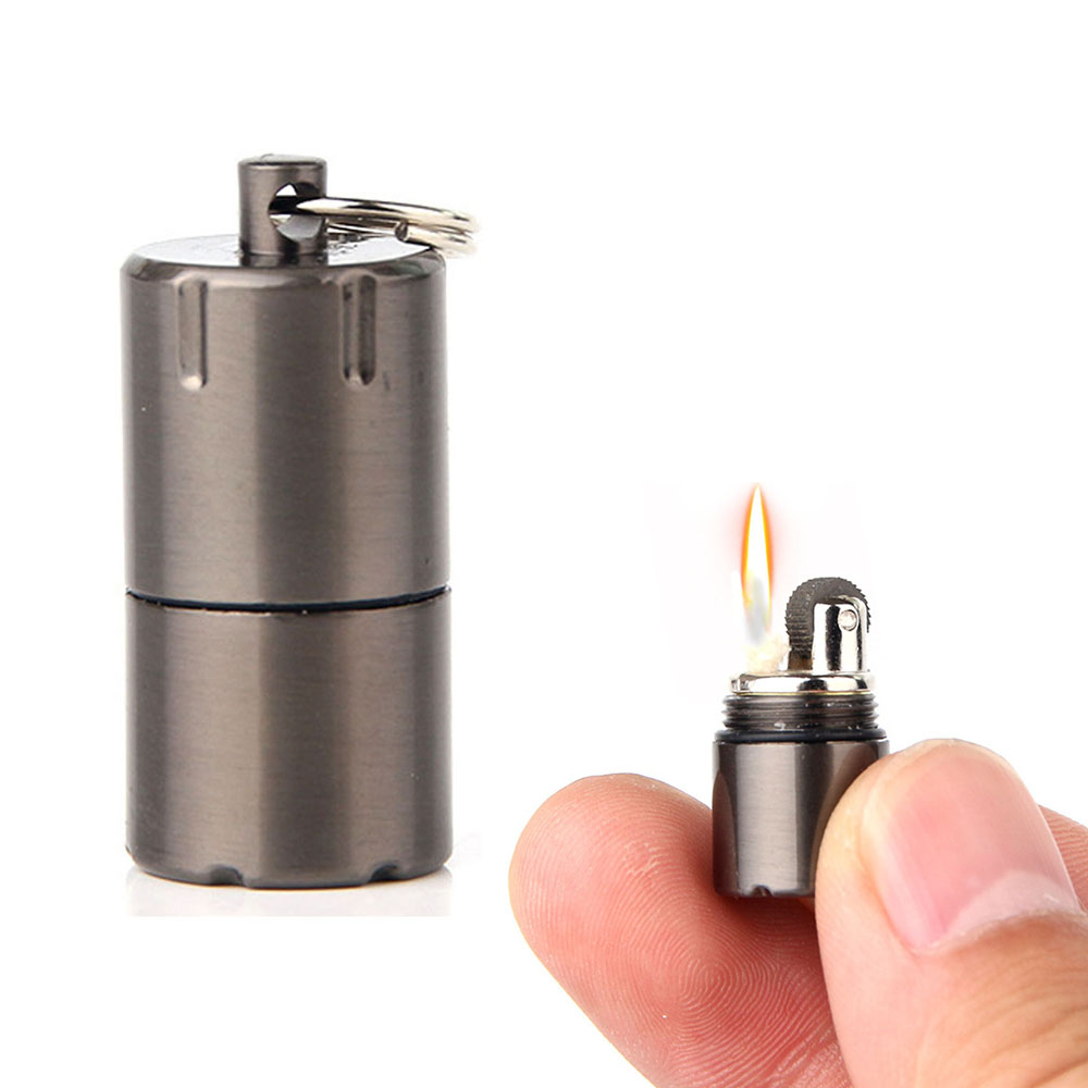 Mini Compact Kerosene Lighter Key Chain Capsule Gasoline Lighter Inflated Keychain Petrol Lighter Portable Camping Outdoor Tools
