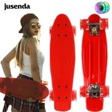 Jusenda skate 22in mini cruiser crianças penny board pastel longboard peixe skate rodas piscando banana skate