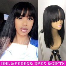 Короткие парики из человеческих волос, парик из натуральных волос с челкой, натуральный цвет, черный, бразильский, прямые волосы, парик для ч...