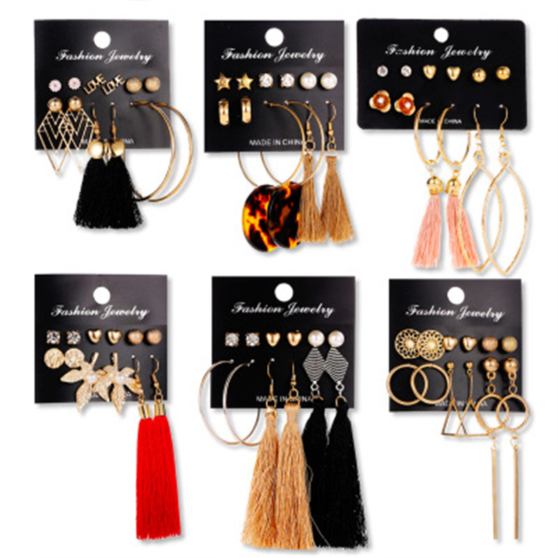 Boho Tassel Earrings Bohemian Long Earrings Set For Women Brincos Geometric Fabric Earring Female Fashion Jewelry image