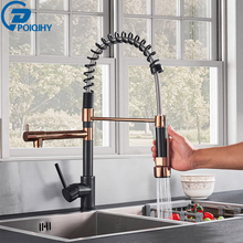 Black Rose Gold Voorjaar Keukenkraan Pull Down Kitchen sink Kranen Dual Draaibare Uitloop Keuken Kraan Hot Cold Water Mixer kranen