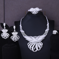SisCathy Luxury Exaggerated Full CZ Flower Drop Statement Earrings Necklace Bracelet Ring Dubai Jewelry Sets For Women Wife Gift