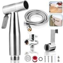 Handheld Toilet Bidet Stainless Steel Sprayer Handheld Bidet Nozzle Set Bathroom Hand Sprayer Shower Head Self-Cleaning