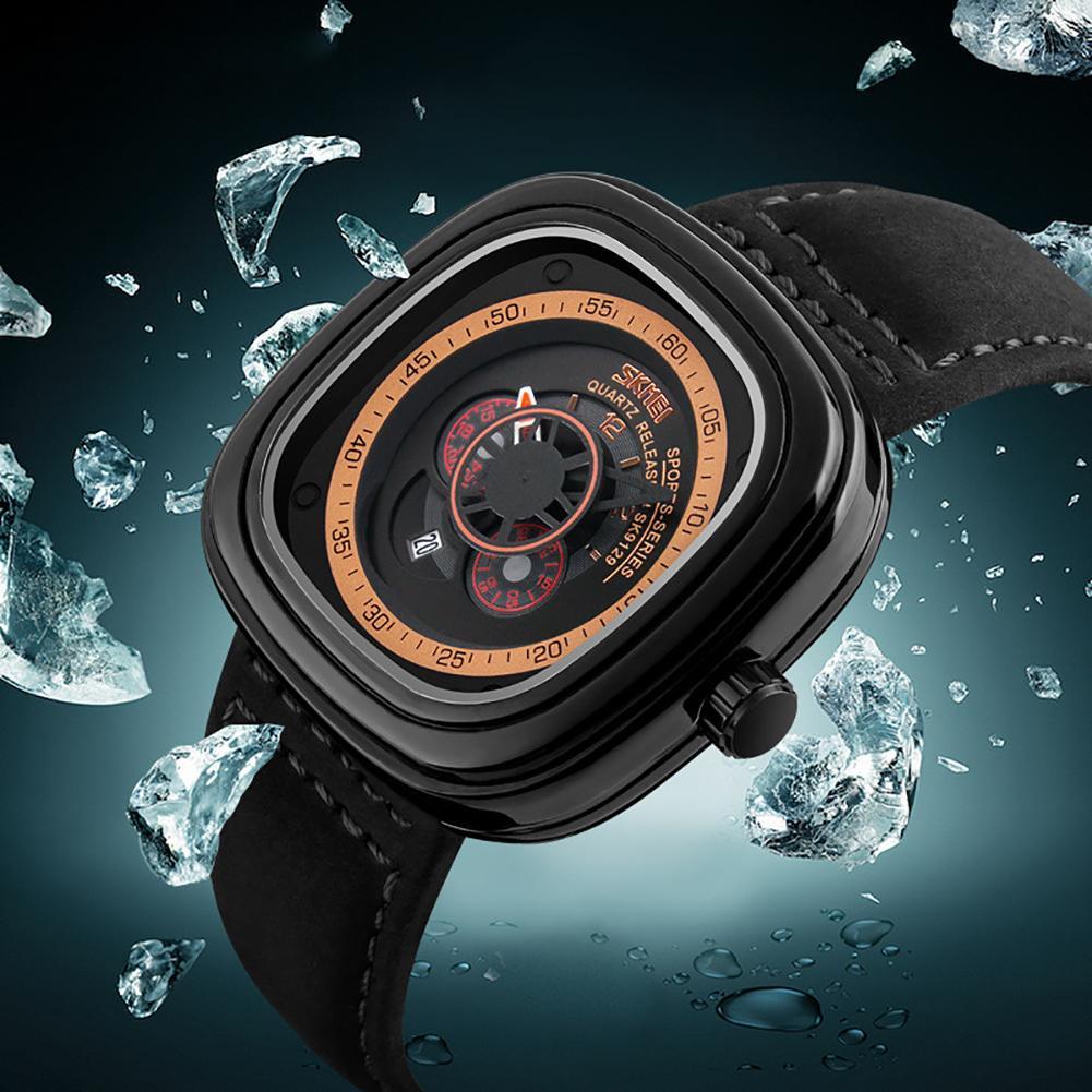 SKMEI 9129 Men Creative Genuines Leather Square Dial Waterproof Business Quartz Wrist Watch