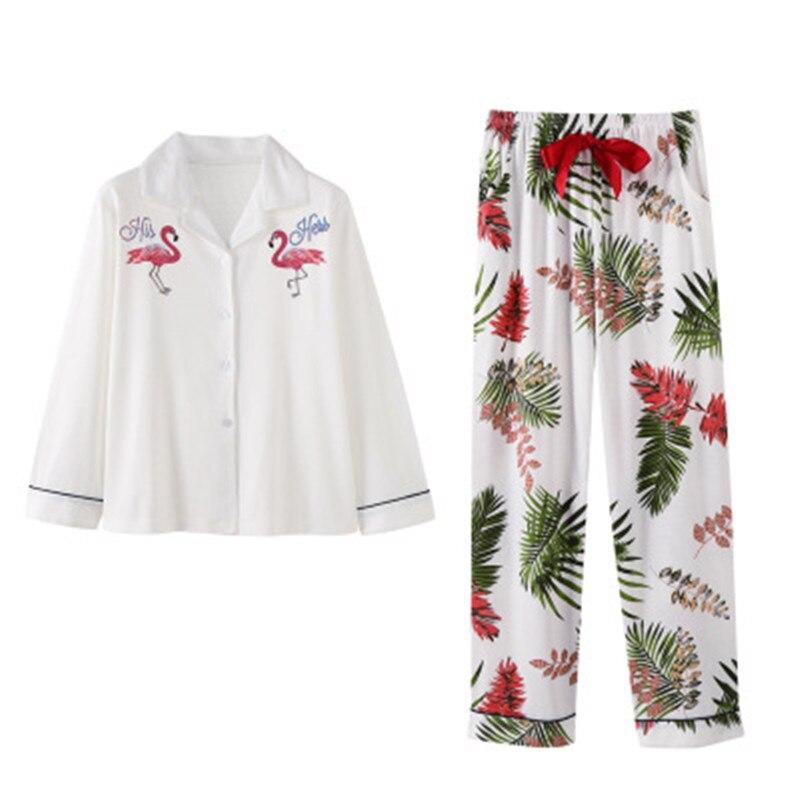 100% Cotton Pajamas Set Women Embroidery Flamingo Sexy Pyjama Long Shirt Pants 2 Pieces/Set Home Fashion Big Size Sleepwear