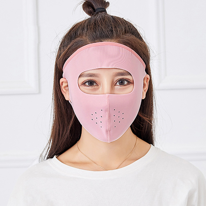 2pcs Female Sunscreen Mask Ices Silk Thin Breathable Anti-UV Full Face Mask QL Sale