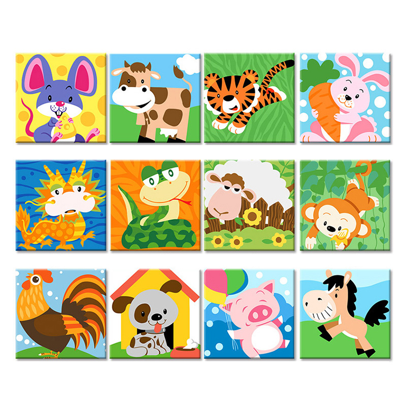 Frame Animals DIY Painting By Numbers Kit Kids Image Paint By Numbers Hand Painted Unique Gift For Children Arts 20x20cm